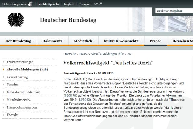 Bundestag Stellungnahme Deutsches Reich